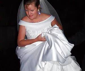 Naked brides in stockings with garters
