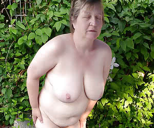 Aged mature nudists with plump bodies