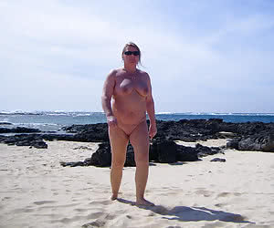 Mature nudist plumpers posing completely nude