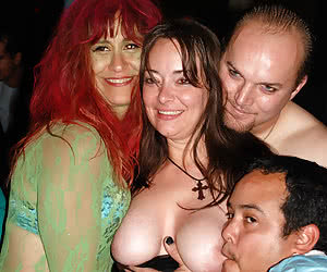 Night party with breast measurement of mature women