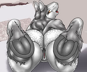 Naked and nasty furries toying with their bodies