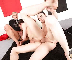 The clean and shaved ass of this young sexy gay wanna feel a real gay double penetration sex.