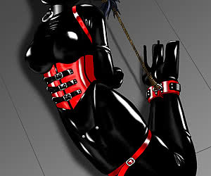 Drawn babes in latex hentai gallery get dressed in latex clothes and masks and feel gags in mouths.
