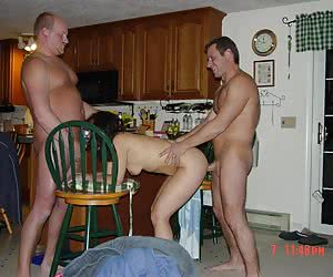 A skinny cuties doing two guys in this MMF action images