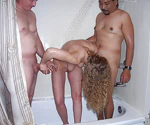 Horny matures MMF threesome images