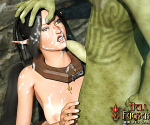 Awesome elven bitch getting cumshot in her mouth