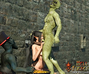 Deliciously sexy elf with hot boobs cried as she swallow orc's jizz