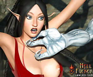 Horny elf being punished for bieng a bad whore and trained humiliately