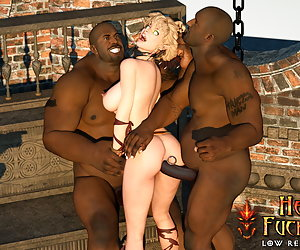 Young elf with big jubes gagged and fucked in all her elven holes by black guards