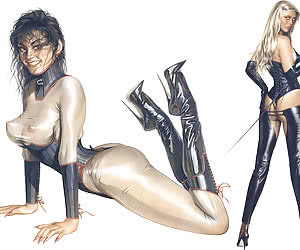 Attractive pinup girls reveal  their bodies in kinky BDSM outfits