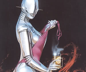 Attractive robot woman takes off her sexy pink dress