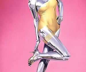 Highly erotic robot woman exposes herself fully naked