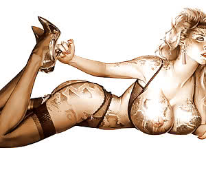 Mega breasted blonde with snake skin in classic pinup glamour pose
