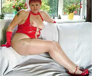 I have on my hot red cfm shoes and some sheer pantyhose - yum.
