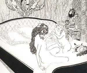 Psychedelic and very sophisticated retro porn drawings may seem delirious.
