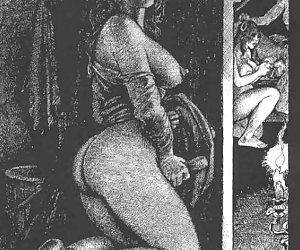 Traditional hand and blow jobs art shown on vintage porn drawings.