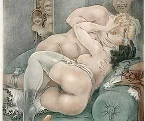 Various kinds of a threesome sex are shown in vintage erotic cartoons.