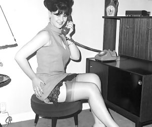 Hotties keep posing in retro lingerie and do their best to drive you completely crazy during showoff