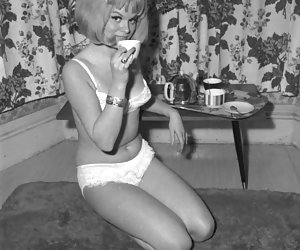 In fits of unbound passion neat gals pose and show their beauty on vintage lingerie pics
