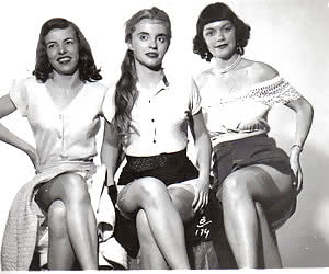 Innocent-looking females lose control while posing in their retro lingerie and showing hot bodies