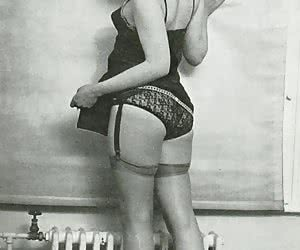 Innocent-looking seductresses in retro lingerie perform nice showoffs before the camera