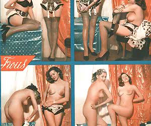 Passionate hotties do their best while posing in their favorite vintage lingerie before the camera