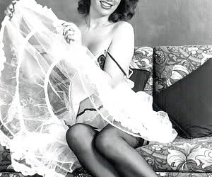 Some cute and very beautiful gals show their silky legs and sexiest retro lingerie very willingly