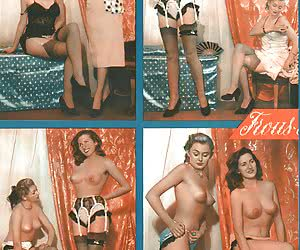 Various gals wearing retro lingerie have real fun while posing and showing their neat bodies