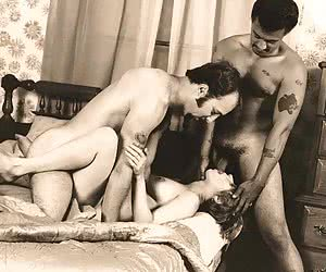 HQ vintage sex with one very slutty girl and two fellows.