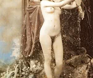Pretty lady shows her hairy pussy in this retro erotic.