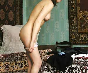 Bosomy girl changing her panties and flashing by tits was photographed by private voyeur cam