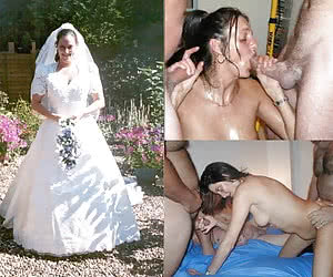 Just married and just fucked by three dicks